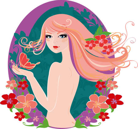 Spring lady Stock Vector - 18841422