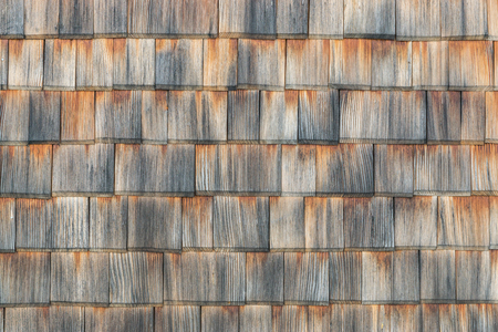 Shingle aged wooden background copyspace. Weathered shakes, nice colored texture.