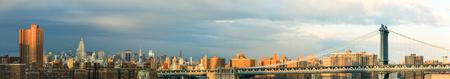 New York City skyline in sunset or sunrise light.