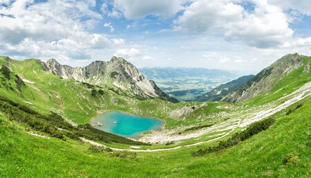 Remote lake up high in the alpine mountains. Gaisalpsee, Bavaria.