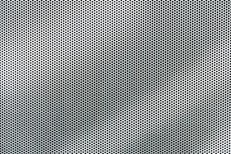 metal grate: Gray metal background, round perforated metal texture with reflections