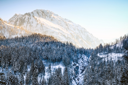 Sunrise in snowy winter mountains and woodland. Hintersteiner Tal, Allgau, Bavaria, Germany.