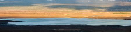 Panoramic view of Lake Sandvatn in Kjolur highland desert of Iceland. Imagens