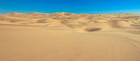 Panoramic view of gig sand dunes landscape with skid marks. Desert and beach sand in Africa, Namib desert, Namibia, near Walvis Bay, Swakopmund.