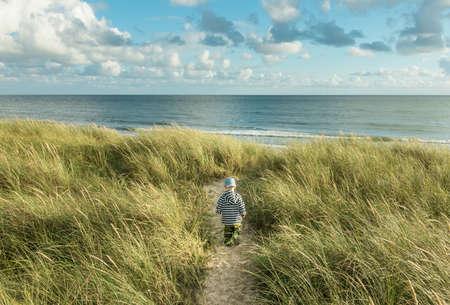 Little 2 year old Boy walking on sand dune path with marram grass to ocean beach. Hvidbjerg Strand, Blavand, North Sea, Denmark. Banco de Imagens