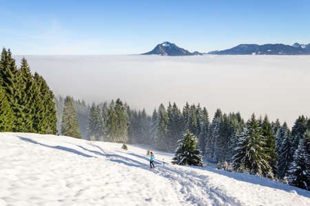 Healthy woman cross country running in amazing winter mountain landscape with deep snow and forest trees. Female trailrunner jogging above inversion fog clouds.