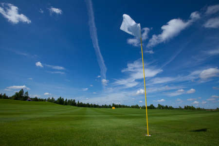 leisure activities: Golf flag club field grass course active leisure sky