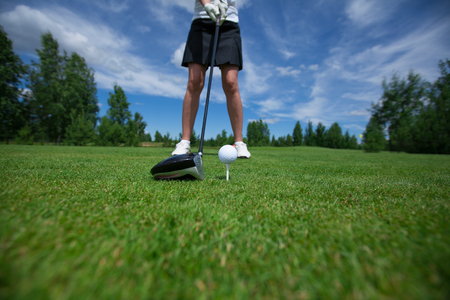 lux: Golf club tee golfplayer close-up ball Stock Photo