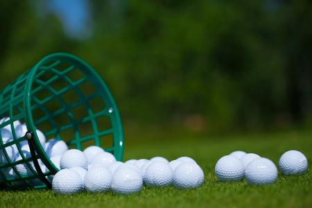 Golf ball  basket grass equipment leisure activity Banco de Imagens