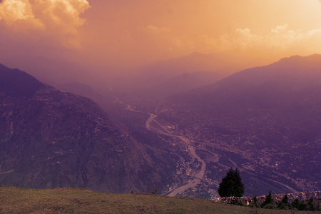 aloneness: Mountian landscape  in clouds and fog in Himalayas. Kullu valley, Himachal Pradesh, India
