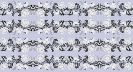 hf: seamless floral abstract gray background pattern hf format Stock Photo