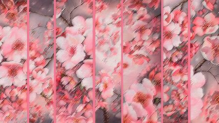 folding screens: Japanese Folding Screen with sakura blossoms divided by vertical lines Stock Photo