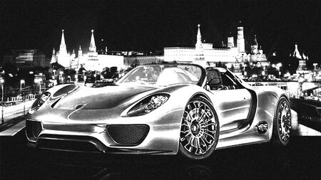 kreml: Black and white sport car at night at Moscow Kreml background Stock Photo