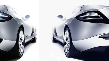 prestige car: Back of two silver sport cars on the white background Stock Photo