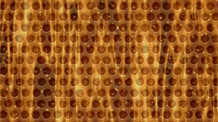 meshed: Metal holed or perforated grid background birning in fire with small sparks and particles Stock Photo