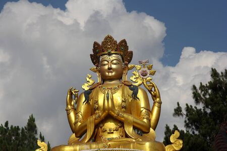 stillness: This statue of Buddha is located at the Swayambhunath Temple in Kathmandu, Nepal. This Buddha is the lord of Stillness and resists temptation.