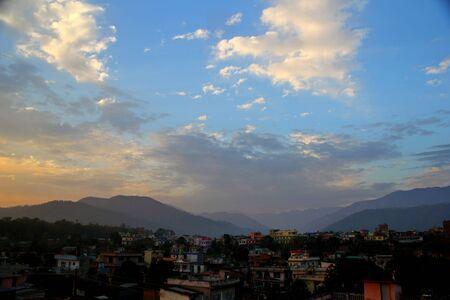 nepali: panoramic view of traditional nepali or indian village, Hetauda, Nepal