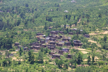 View of the village and mountains Himalaya in Himachal Pradesh,India