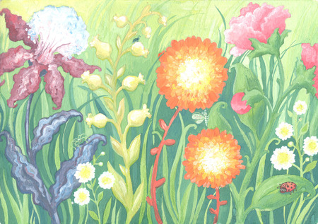 Hand drawn flowers field on green background