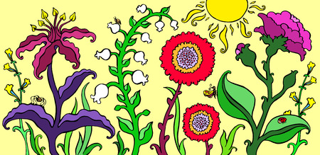 Retro hand drawn summer card with flowers and plants on a yellow background