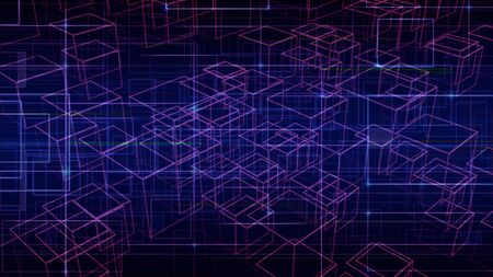 Background with futuristic lines. Digital Data Visualization of technology, science and research. cyberspace cells. Banco de Imagens