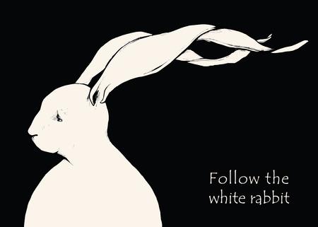 Hand drawn fashion Illustration of rabbit. Vector isolated elements.