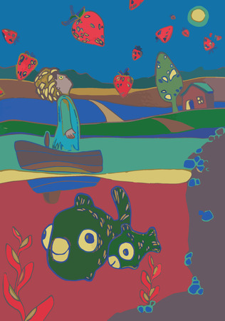 Illustration of boy in boat in a lake with fish underwater and strawberry in the sky