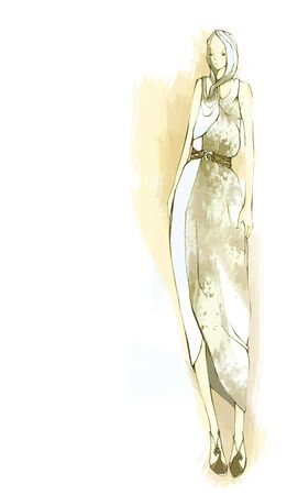 Fashion design female model, fashion style concept, vector illustration