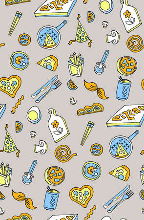 Seamless pizza background pattern. Vector art and food Illustration