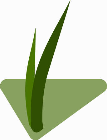 Seedlings of grass for breeding in the abstract vector. Icon for agriculture on the background of green triangle on new life.