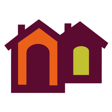 Home vector icon. Different building options and architecture. Color.