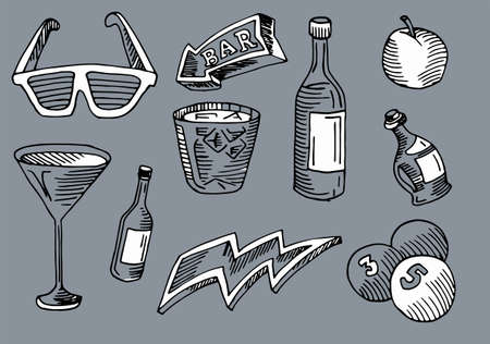 Bar and coffee, drink and arrow in arte set in gray vector