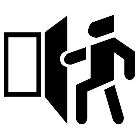 Vector open door icon. The basic black exit. Banque d'images - 124466677