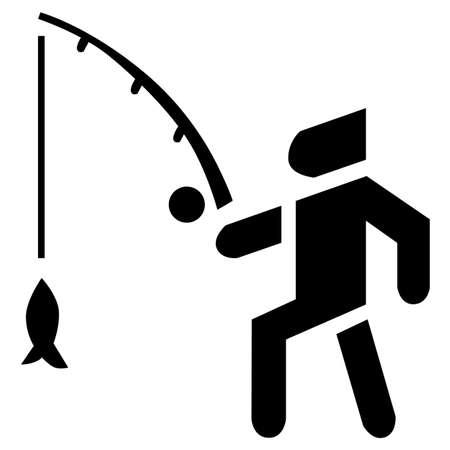 Fisherman activity background. Bait, bobber and fish in black vector icon. Vektorové ilustrace