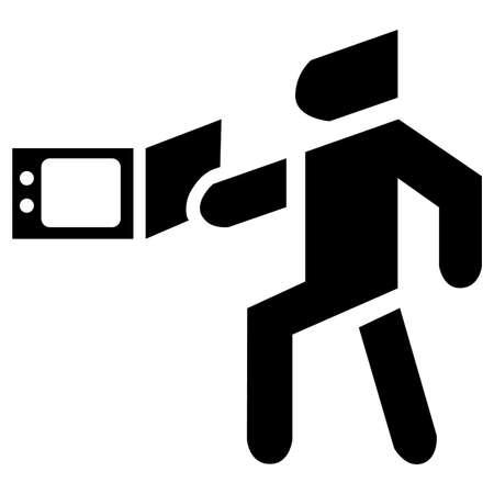 Appliance microwave for cooking dish boiling vector icon black Ilustração