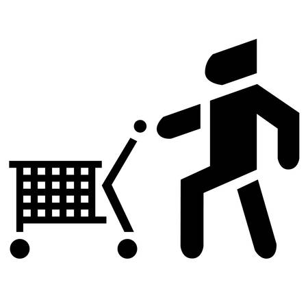 Man with cart. Icon buyer with consumer baske. Shopping theme.