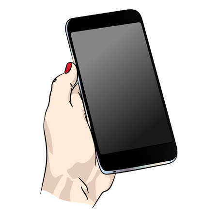 Vector phone in human hand. Smart adult smartphone with blank dark screen EPS10. Stock Illustratie