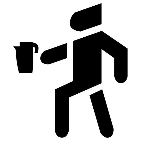 Man carries a kettle icon vector. A appliance that boils for tea.
