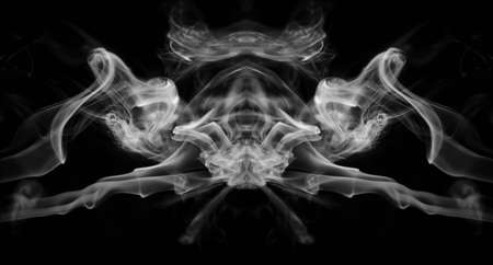 smoke background: White smoke mirrored on a black background Stock Photo