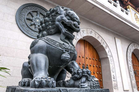 Statue of Lion, Shanghai, China Stock Photo
