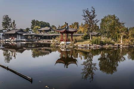 chinese park in hangzhou, china, xia sha district.