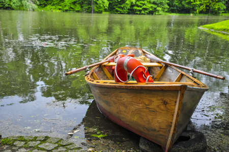 small boat on a lake in poland. Stock Photo
