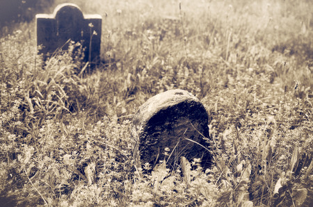 bury: Old Gravestones in Pioneer Cemetery Stock Photo