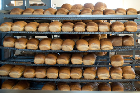 loaves: Fresh loaves of bread in a local bakery Stock Photo
