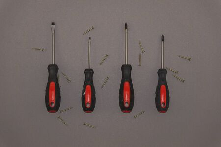 Red handle screwdrivers with screws on a grey background
