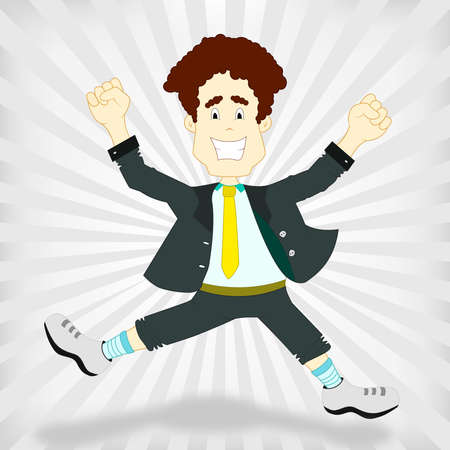 victorious: Man jumping happy and victorious on a gray background  An employee of a company feeling winner  Feeling of victory  Illustration
