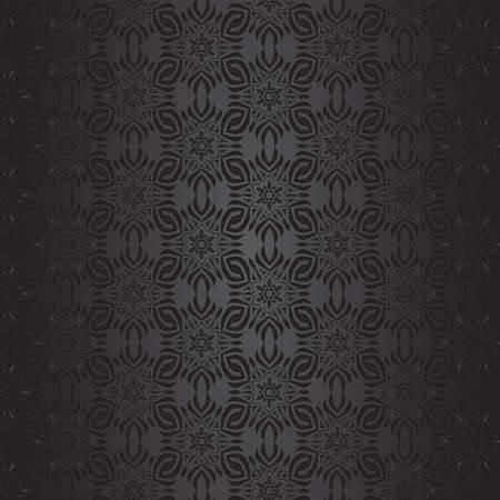 Black with geometric symmetric ornaments