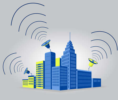 emitting: In a city, blue buildings with antenna emitting sound waves