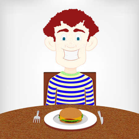 Hungry smiling boy sitting at the table to eat a burger  Vector