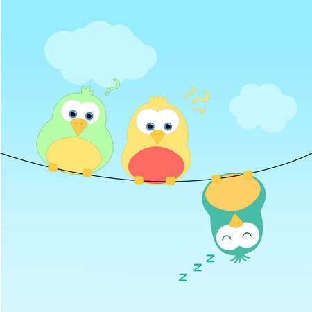 Three birds sitting on a wire  One of them is upside down and sleeping  The other two look curious